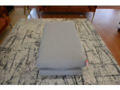 Grey Fabric Footstool with Metal Legs