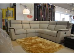 Duca Corner Sofa in Grey Leather with Electric Recliners from Italy