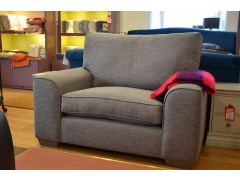 Dexter Large Armchair Loveseat Snuggler in Grey Fabric