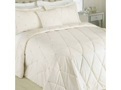 Diamanté Cream Velvet Bedspread Set