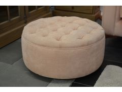Dixie Buttontop Round Footstool in Pink