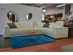 designer Italian leather corner sofas cream leather ex display sale
