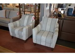 Pair of Annalise II Armchairs Grey Striped Fabric set of 2