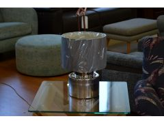 Chrome Ceramic Table Lamp Round Cylinder Shape