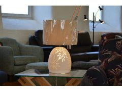Starburst Table Lamp with Lit Ceramic Base Dual Design