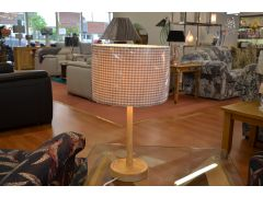 Oakton Table Lamp with Grey Checked Shade