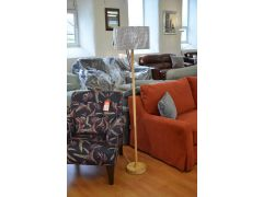 Oakton Floor Lamp in Pale Oak Wood with Grey Checked Drum Shade BNIB