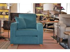 Blue Armchair with Scatter Cushion in Linen/Cotton Mix Fabric