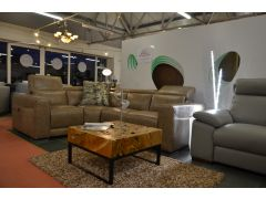 Duro Italian Leather Corner Sofa with Electric Recliners in Beige