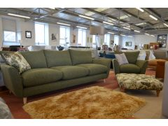 Extra Large Sofa and Armchair Set in Green Fabric Retro Style Suite