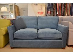 Elmley Two Seater Sofa Bed with Sprung Mattress in Blue Corduroy Fabric
