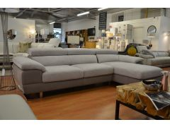 Feroce Large Chaise Sofa in Two Tone Fabric with Adjustable Headrests from Italy
