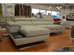 Feroce Large Chaise Sofa in Luxury Grey Leather with Adjustable Headrests