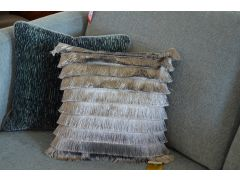 Pair of Fringed Deco Cushions in Bright Silver with Fillings