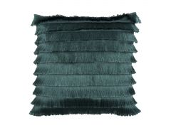 Pair of Fringed Deco Cushions in Deep Teal with Fillings