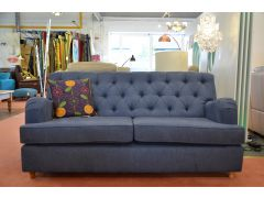 Foxcote 3 Seater Sofa Bed Blue Cotton Fabric Buttonback Chesterfield