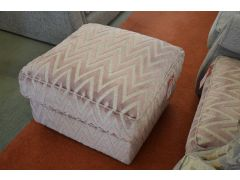 The Comforter Footstool in Pink Chevron Fabric