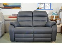 Blue Leather 2 Seater Sofa Supportive and Comfortable PROTOTYPE