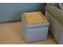 Spencer Storage Footstool Grey Fabric Square Cube Small Pouffe