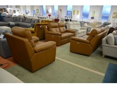 Hannington Brown Leather Sofas Ex Display Sofas Lancashire Clearance Outlet