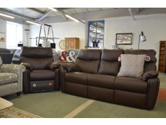 Henley Large 3 Seater Sofa and Electric Recliner Chair in Brown Leather