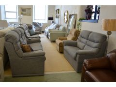 Malvern Two and Three Seater Sofas in Grey Blue Fabric Two Piece Suite