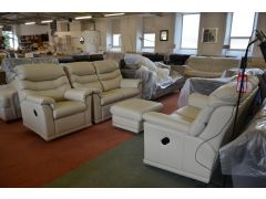 Malvern Pair of 2 Seater Recliners Sofas, Recliner Armchair and Footstool Suite in Cream Leather