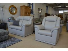 Milton Two Seater Leather Sofa and Armchair Suite Pale Grey