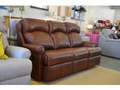 Norton Pair of 3 Seater Recliner Sofas in Browb Leather Two Piece Suite