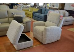 Prototype Armchair and Storage Footstool Set in Beige Fabric