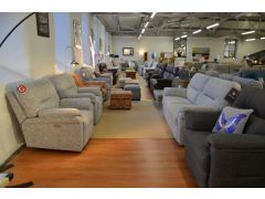 Seattle 3 Seater Sofa and Two Electric Recliner Armchairs in Grey Fabric British Brand