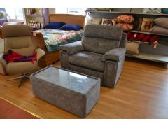 Burford Snuggler Chair and Glass Topped Coffee Table in Grey Fabric