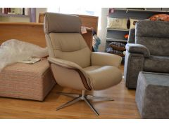 Lagom Leather Swivel Armchair with Wood Trim and Chrome Base
