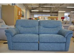 Washington Three Seater Electric Recliner Sofa Blue Fabric