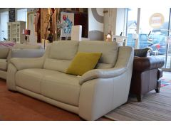 Grey Leather Degano Two Piece Suite 2 and 3 Seater Sofas