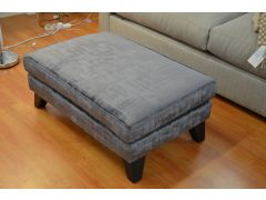 Velvet Footstool Charcoal Grey with Dark Wood Legs