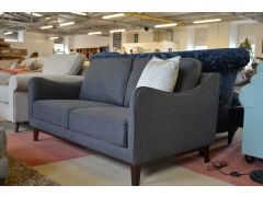Grey Fabric Sofa Retro Style Curved Arms
