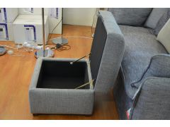Grey Fabric Storage Footstool