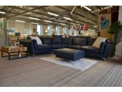 Groove Four Piece Corner Suite with Footstool in Indigo Blue Leather