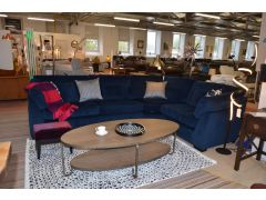 Blue Velvet Corner Suite with Matching Cushions Made in Britain