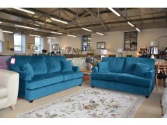 Teal 2 Piece Suite Plush Velvet 3 and 2 Seater Sofas