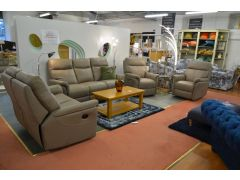Ex display Hayward leather recliner suite as sold by Housing Units