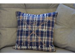 Pair of Henley Tartan Cushions in Blue Boat Race Design