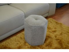 Hex Footstool with Button Top in Grey Fabric with Free UK Postage