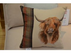 Pair of 2 Painted Highland Cow Cushions with Green Tartan by Evans Lichfield