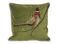 Pair of Green Pheasant Cushions in Embroidered Velvet Design