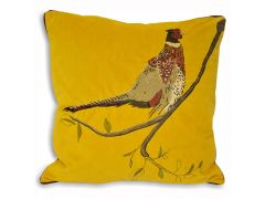 Pair of Yellow Pheasant Cushions in Embroidered Velvet Design