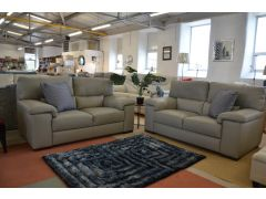 Pulito 2 Seater Sofas Grey Italian Leather Two Piece Suite