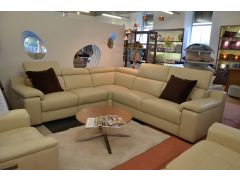 Tesoro Leather Corner Sofa Cream Italian Grade 60 Leather with Power Recliners