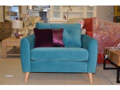 retro blue velvet mid century snuggler chair ex display from wb furniture lancashire